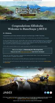 RuneScape 3 Beta email