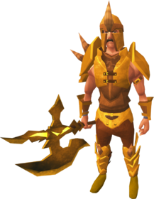 Golden Dharok the Wretched's equipment equipped
