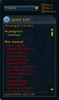 Quest List Sorted by Progress