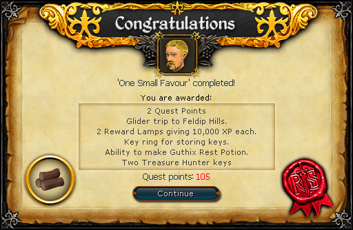 File:One Small Favour reward.png