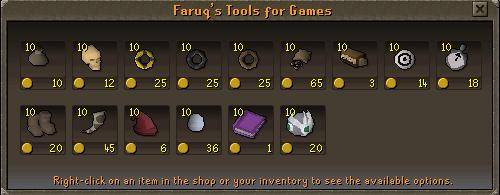 Tools for games shop