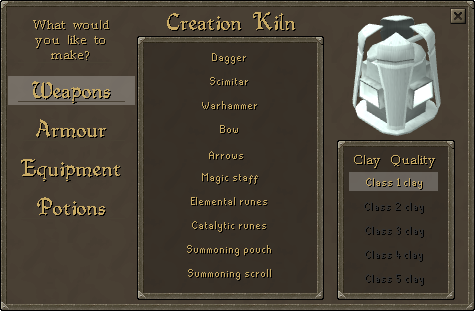 Creation kiln interface