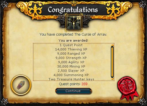 The Curse of Arrav reward