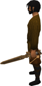 Off-hand bronze longsword equipped