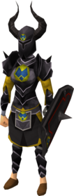 Black heraldic armour set 3 (sk) equipped
