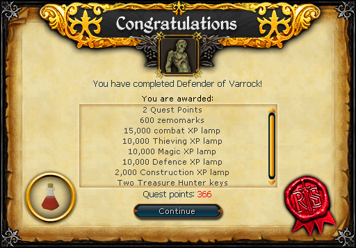 Defender of Varrock (Dimension of Disaster) reward