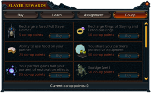Co-op Slayer points interface