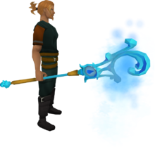 Mystic water staff equipped