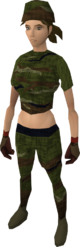 Camouflage clothing female equipped