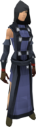 Black wizard robes female equipped