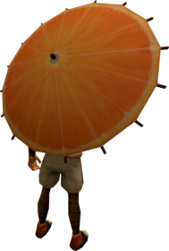 Orange parasol equipped