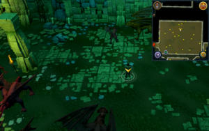 Scan clue Brimhaven Dungeon lower level north side of red dragon chamber