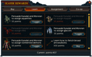 Slayer points (Learn) interface