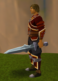 Off-hand iron ceremonial sword IV equipped