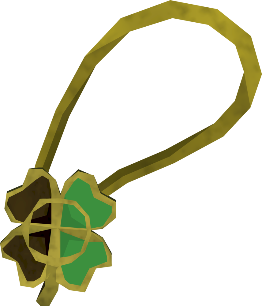 Shiny two-leaf clover necklace detail