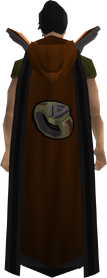 Retro hooded dungeoneering cape equipped