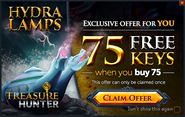 Treasure Hunter buy 75 get 75 promo (Hydra Lamps)