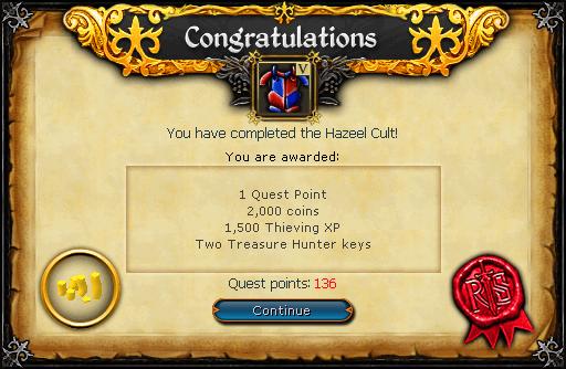 Hazeel Cult reward