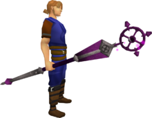 Enhanced ancient staff equipped