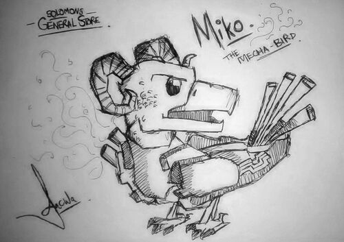 Miko the Mecha Bird design a pet news image