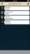 RuneScape Companion clan members list