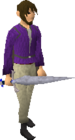 White decorative sword equipped