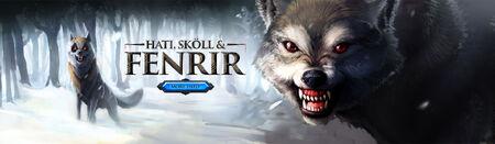 Hati, Skoll and Fenrir head banner 2