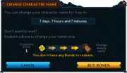 Change character name (bonds) interface