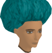 Turquoise afro chathead