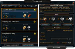 Voyage List interface