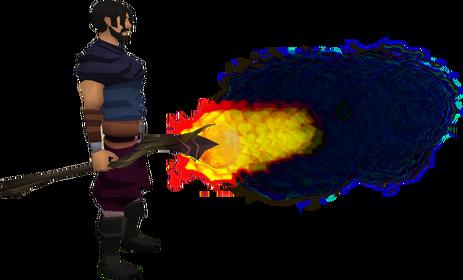 Cajado do fogo equipado
