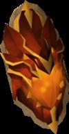 Escudo de fogo do dragão detalhe