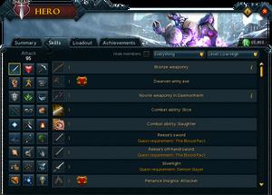 Hero (Skills) interface