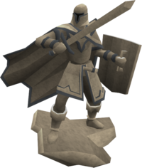 Engraved melee statue