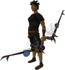 Augmented noxious longbow equipped