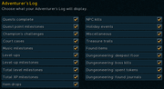 Runescape Adventure's Log Settings Screen