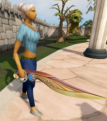 Augmented Second-Age sword equipped