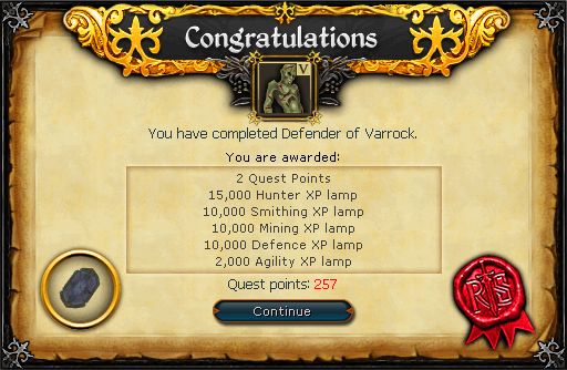 Defender of Varrock reward