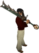 Espada divina de Bandos equipada