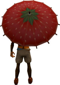 Strawberry parasol equipped