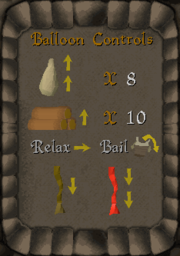 Balloon controls panel
