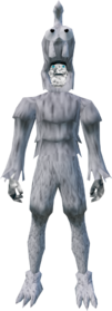 Ghostly chicken outfit equipped