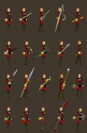 Auras equipadas em diversas armas