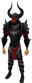 Bugged black armour set equipped