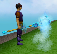 Augmented staff of limitless water equipped