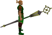 Enhanced ancient staff (yellow) equipped