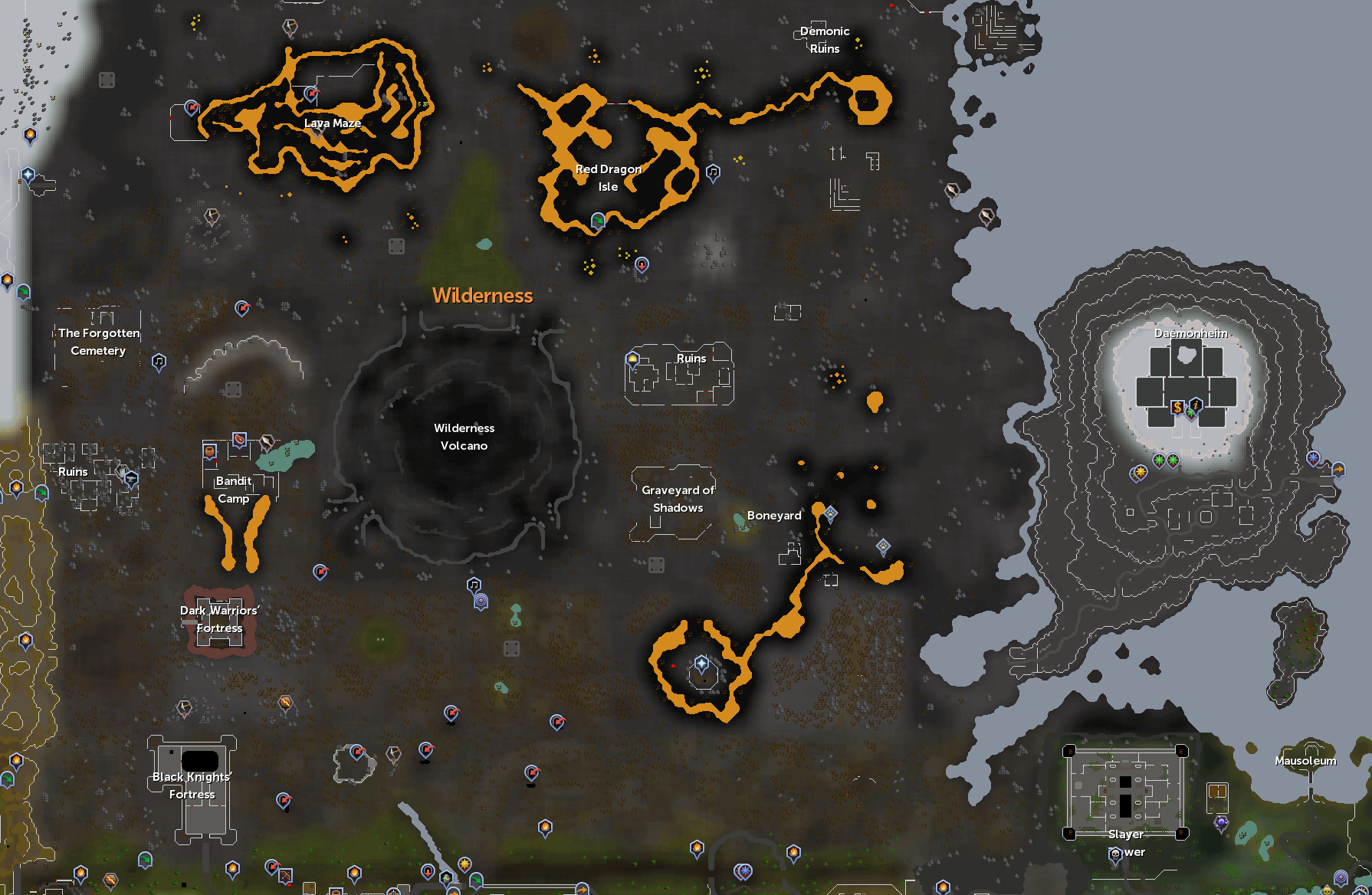 Osrs World Map In Game. Wilderness free to play areas map png Image  RuneScape Wiki