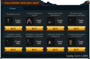 Halloween Reward Shop stock