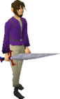 Red decorative sword equipped