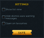 Aura managment settings